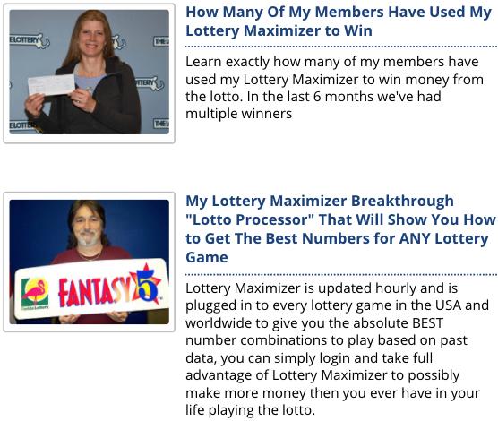 Lottery Maximizer Testimonials
