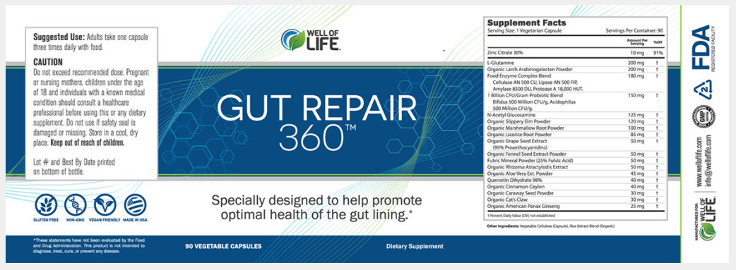 Gut Repair 360 Ingredients List